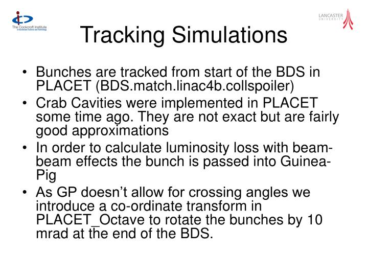 Tracking simulations