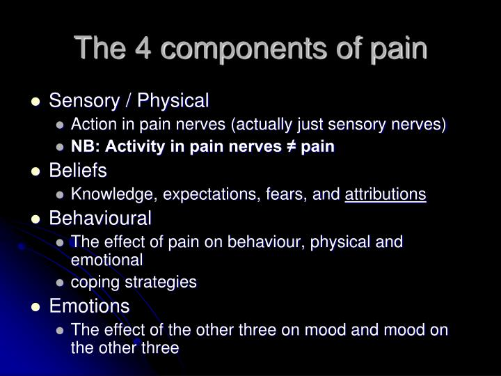 The 4 components of pain