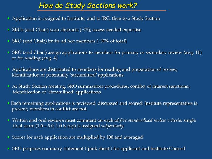 How do Study Sections work?