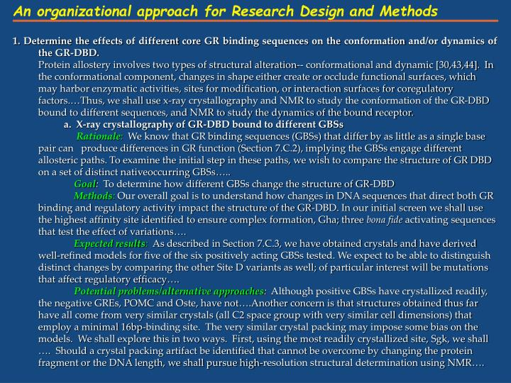 An organizational approach for Research Design and Methods