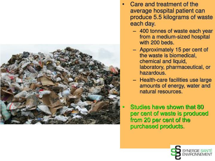 Care and treatment of the average hospital patient can produce 5.5 kilograms of waste each day.