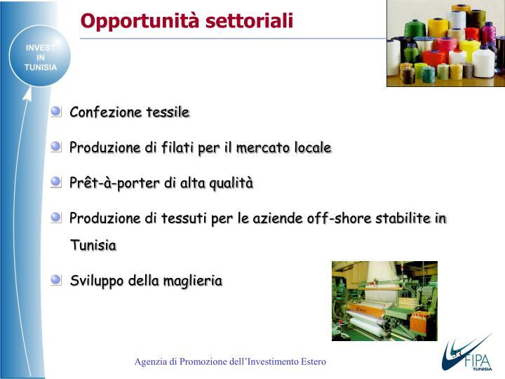 Opportunità settoriali