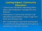 lasting impact community education