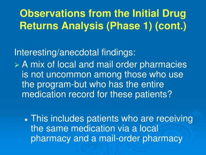 Observations from the Initial Drug Returns Analysis (Phase 1) (cont.)