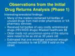 observations from the initial drug returns analysis phase 1