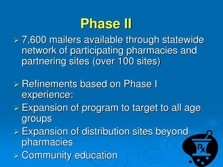 7,600 mailers available through statewide network of participating pharmacies and partnering sites (over 100 sites)
