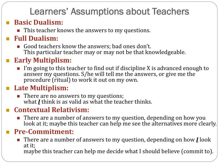 Learners' Assumptions about Teachers