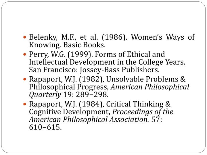 Belenky, M.F., et al. (1986). Women's Ways of Knowing. Basic Books.