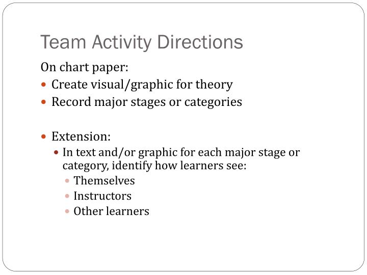 Team Activity Directions