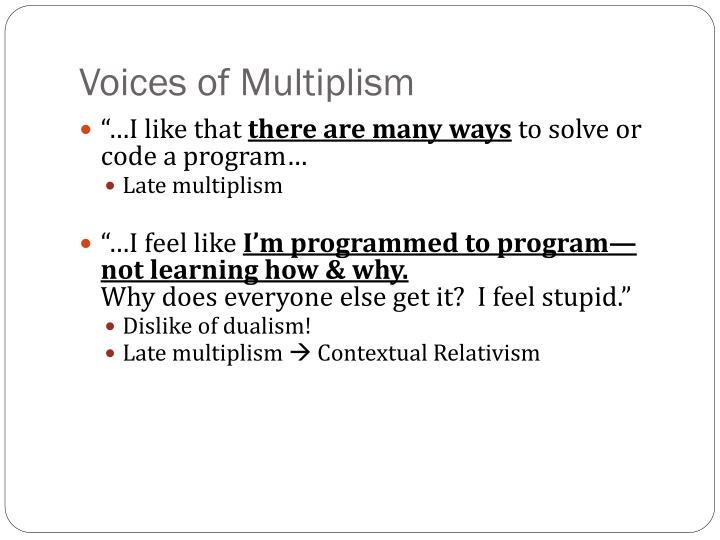 Voices of Multiplism