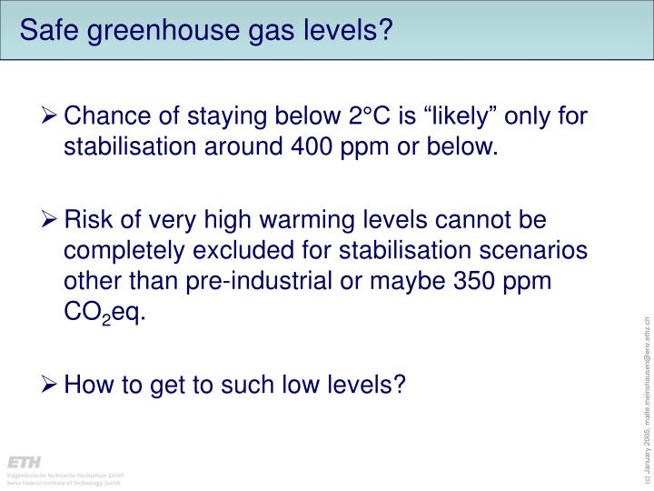 Safe greenhouse gas levels?