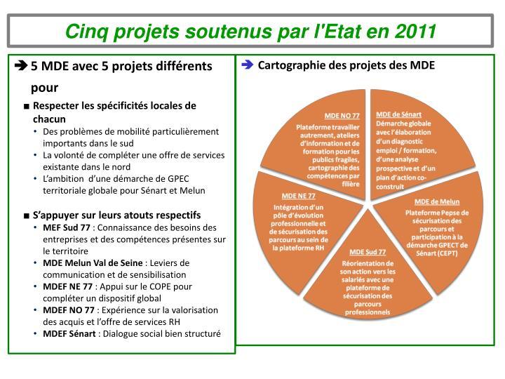 Cinq projets soutenus par l'Etat en 2011