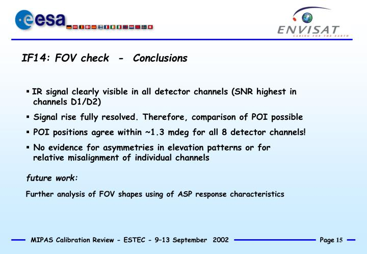 IF14: FOV check  -  Conclusions
