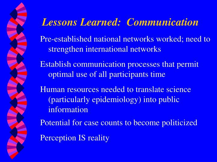 Lessons Learned:  Communication