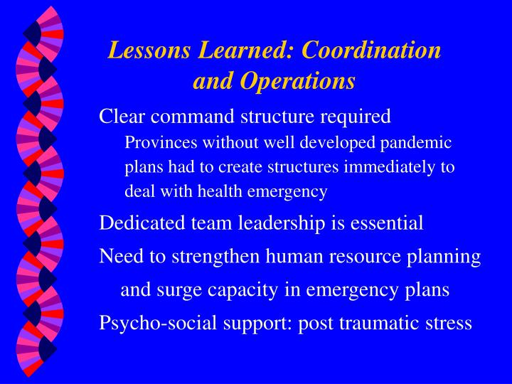 Lessons Learned: Coordination and Operations