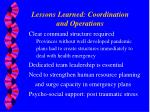 lessons learned coordination and operations