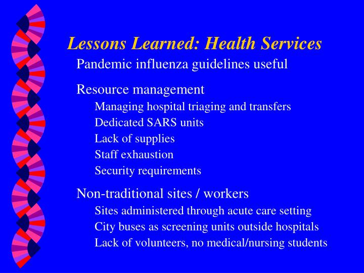 Lessons Learned: Health Services