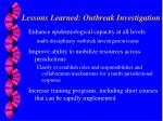 lessons learned outbreak investigation