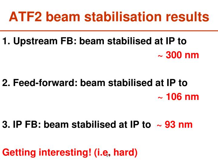 ATF2 beam stabilisation results