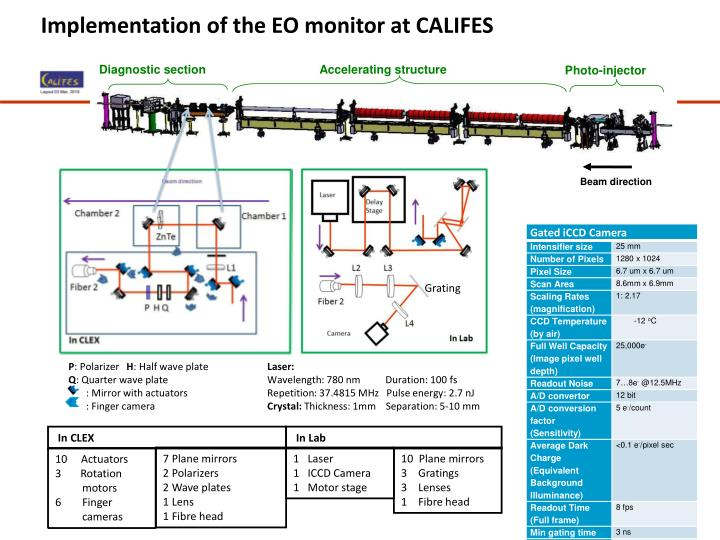 Implementation of the EO monitor at CALIFES