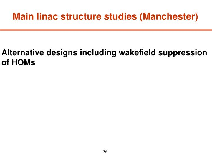Main linac structure studies (Manchester)