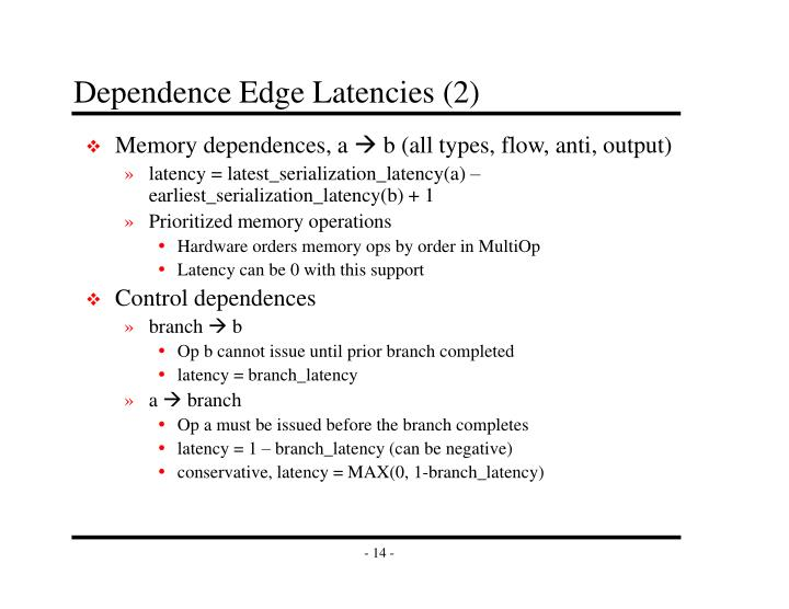 Dependence Edge Latencies (2)