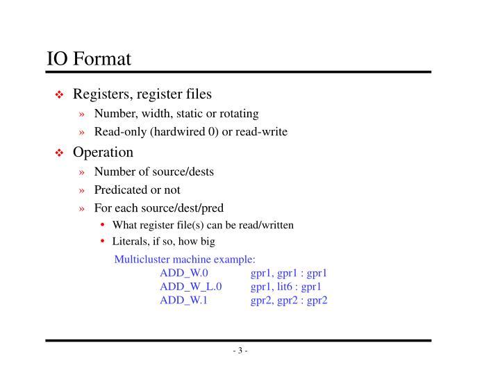 IO Format