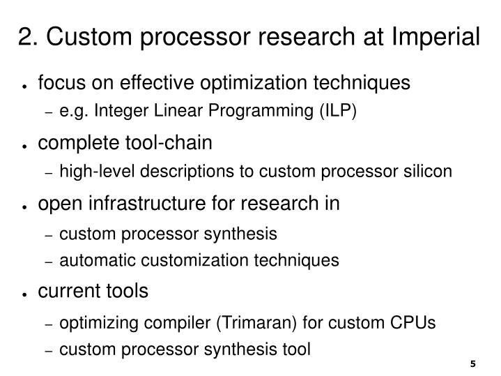 2. Custom processor research at Imperial