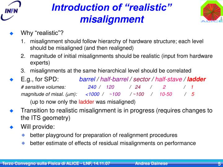 """Introduction of """"realistic"""" misalignment"""
