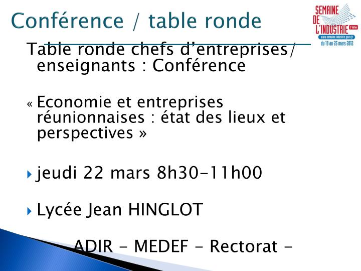 Conférence / table ronde