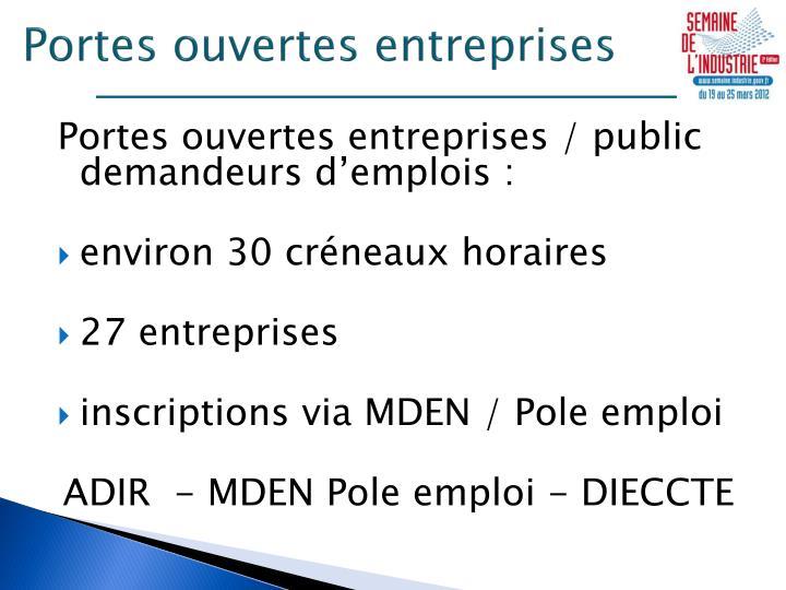 Portes ouvertes entreprises
