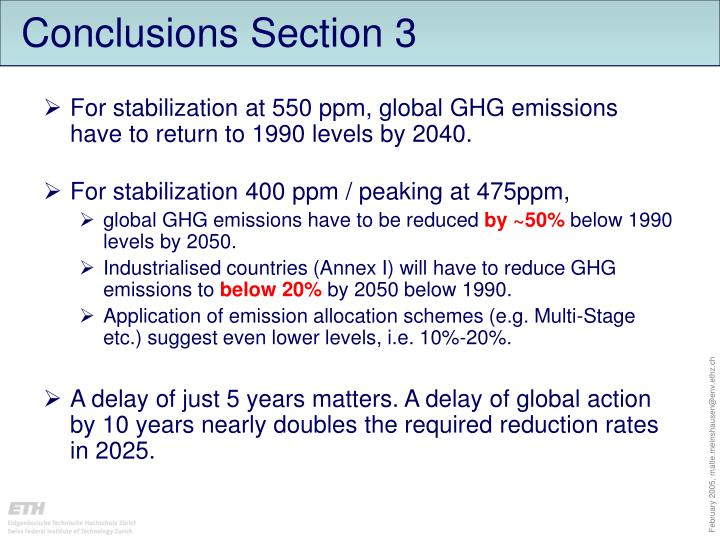Conclusions Section 3