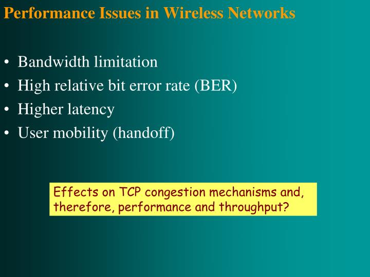 Performance Issues in Wireless Networks