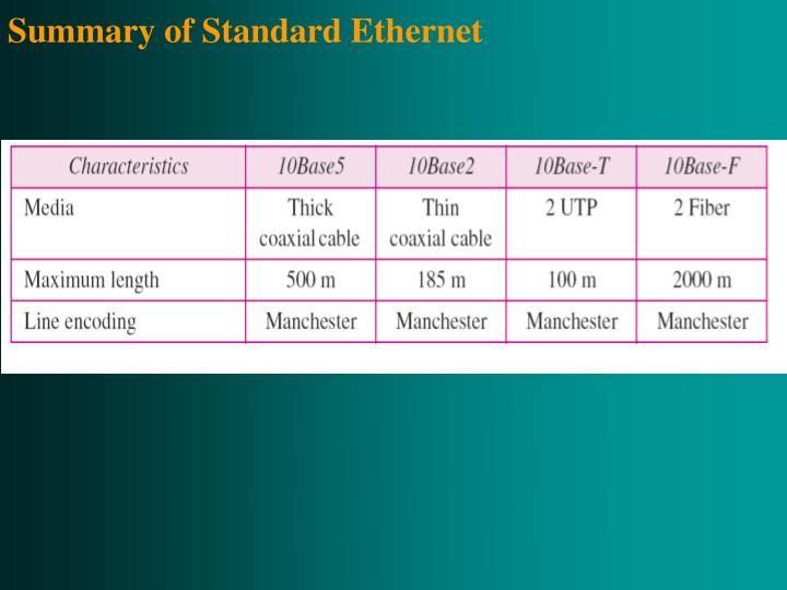 Summary of Standard Ethernet