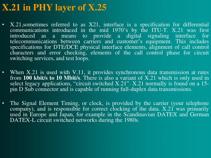 X.21 in PHY layer of X.25