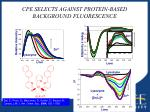 cpe selects against protein based background fluorescence