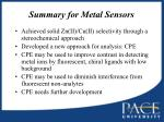 summary for metal sensors