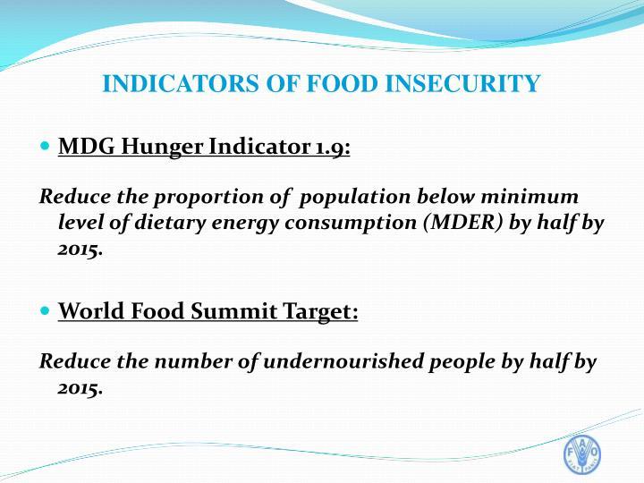 MDG Hunger Indicator 1.9: