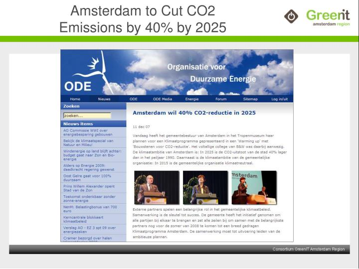 Amsterdam to Cut CO2