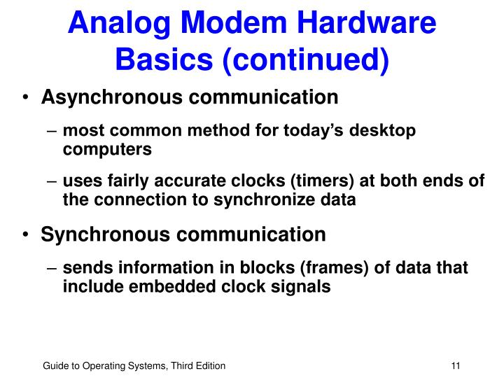 Analog Modem Hardware Basics (continued)