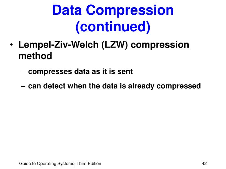 Data Compression (continued)