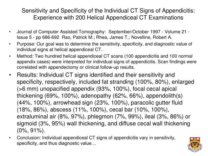 Sensitivity and Specificity of the Individual CT Signs of Appendicitis: Experience with 200 Helical Appendiceal CT Examinations