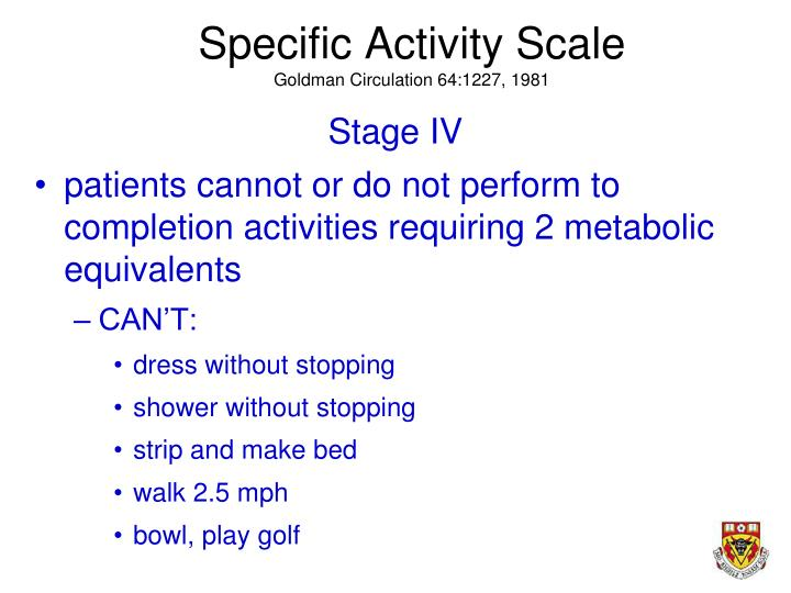 Specific Activity Scale