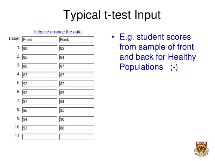 Typical t-test Input