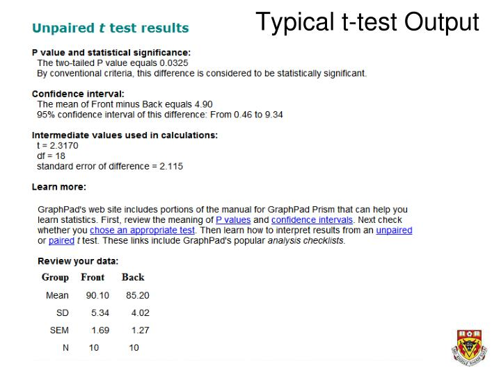 Typical t-test Output