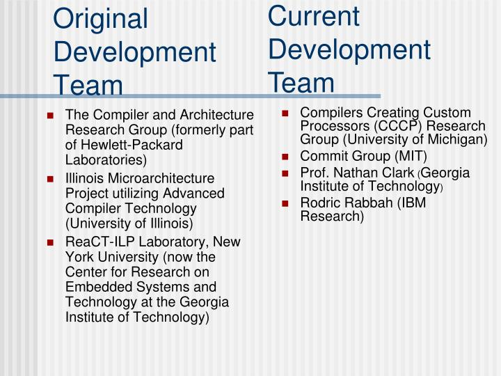 The Compiler and Architecture Research Group (formerly part of Hewlett-Packard Laboratories)