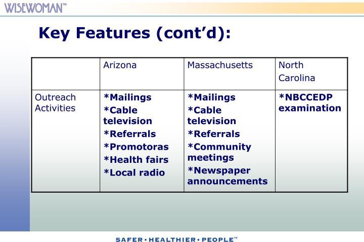 Key Features (cont'd):