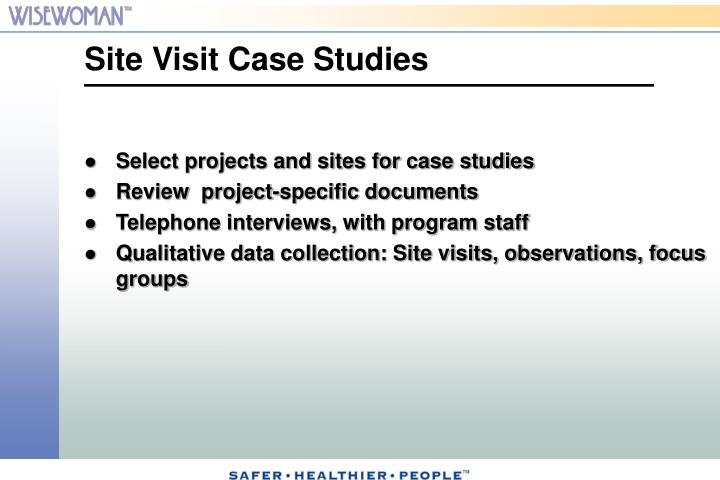Select projects and sites for case studies