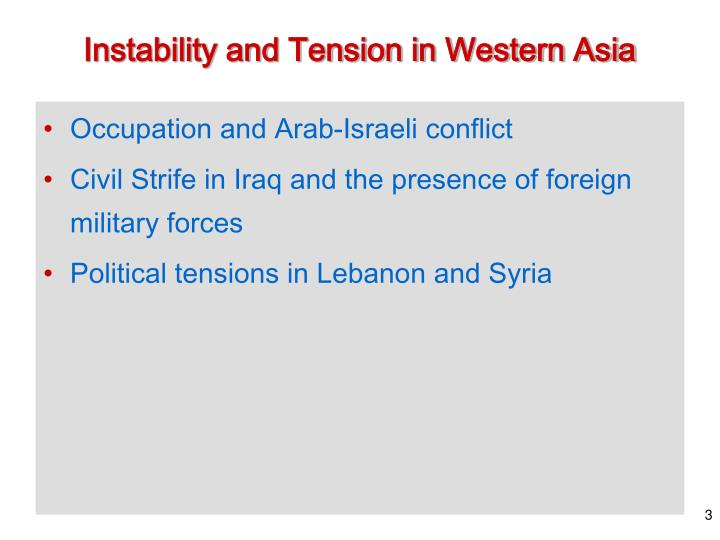 Instability and tension in western asia