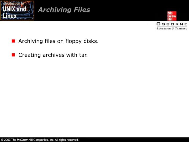 Archiving Files